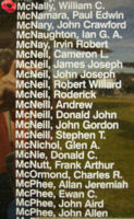 Memorial– Flight Sergeant William Carlisle McNally is also commemorated on the Bomber Command Memorial Wall in Nanton, AB … photo courtesy of Marg Liessens