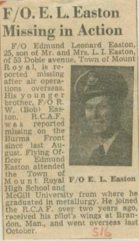 Press Clipping– Flying Officer Edmund Leonard Easton missing in action Montreal Star Mar 16 1945 courtesy McGill University archives