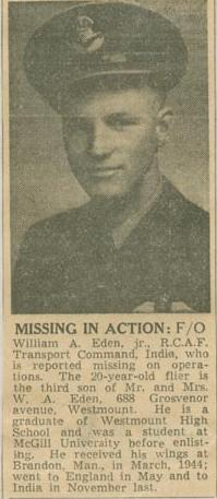 Press Clipping– Flying Officer William Andrew Eden MIA Montreal Star Feb 17 1945 courtesy McGill University archives