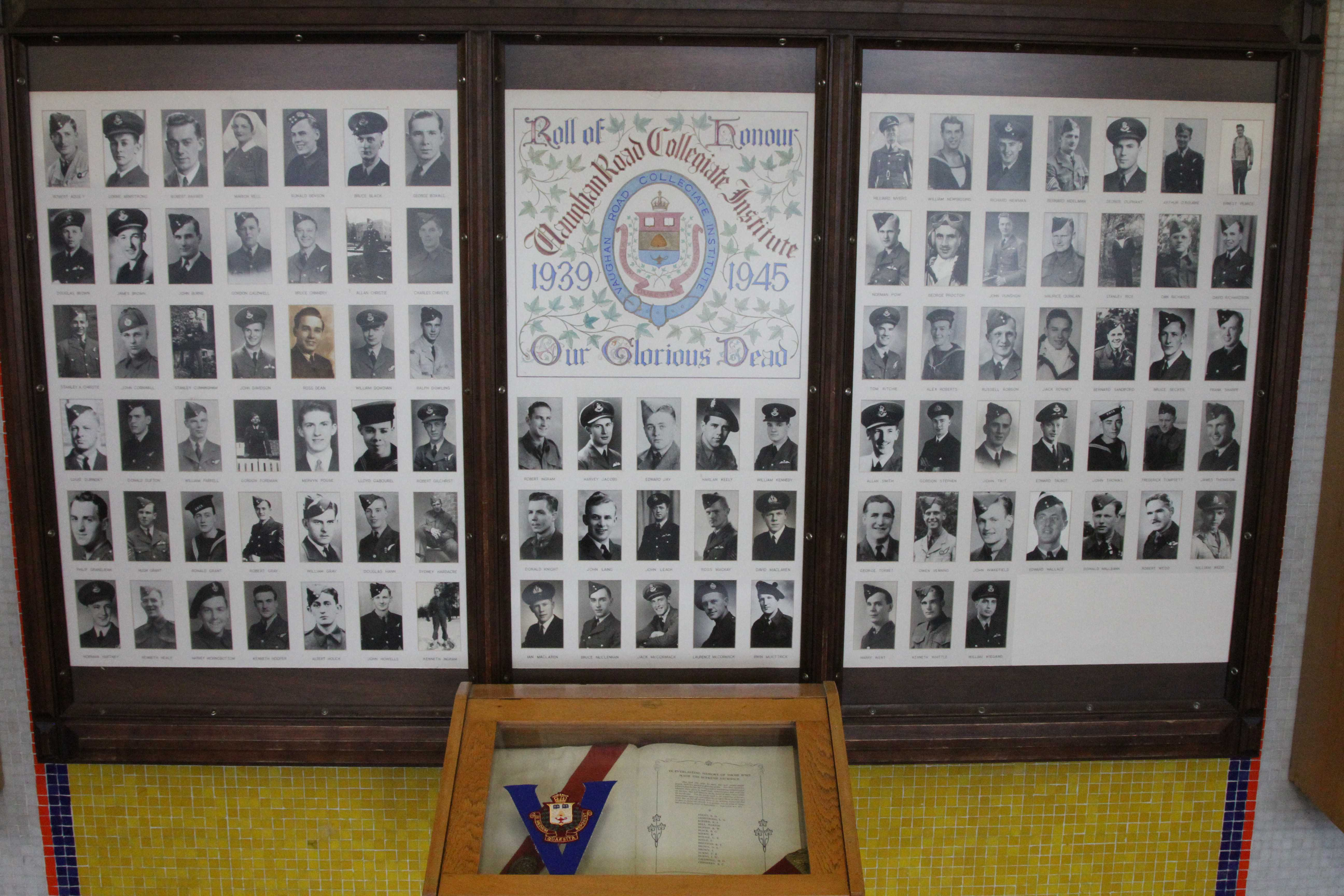 Memorial– In memory of the students from the Vaughan Road Collegiate Institute  (Toronto) who went away to war and did not come home. Submitted for the project, Operation Picture Me