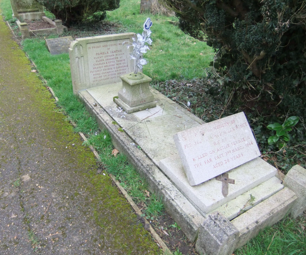"""Memorial– Memorial marker for George Lawrence on his wife's grave who also died in WW2. Pamela """"Thorpe"""" Lawrence died Jan/ 43 while serving in the Women's Auxiliary Air Force. Submitted for the project Operation Picture Me"""