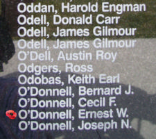 Memorial– Pilot Officer Ernest William O'Donnell is also commemorated on the Bomber Command Memorial Wall in Nanton, AB … photo courtesy of Marg Liessens