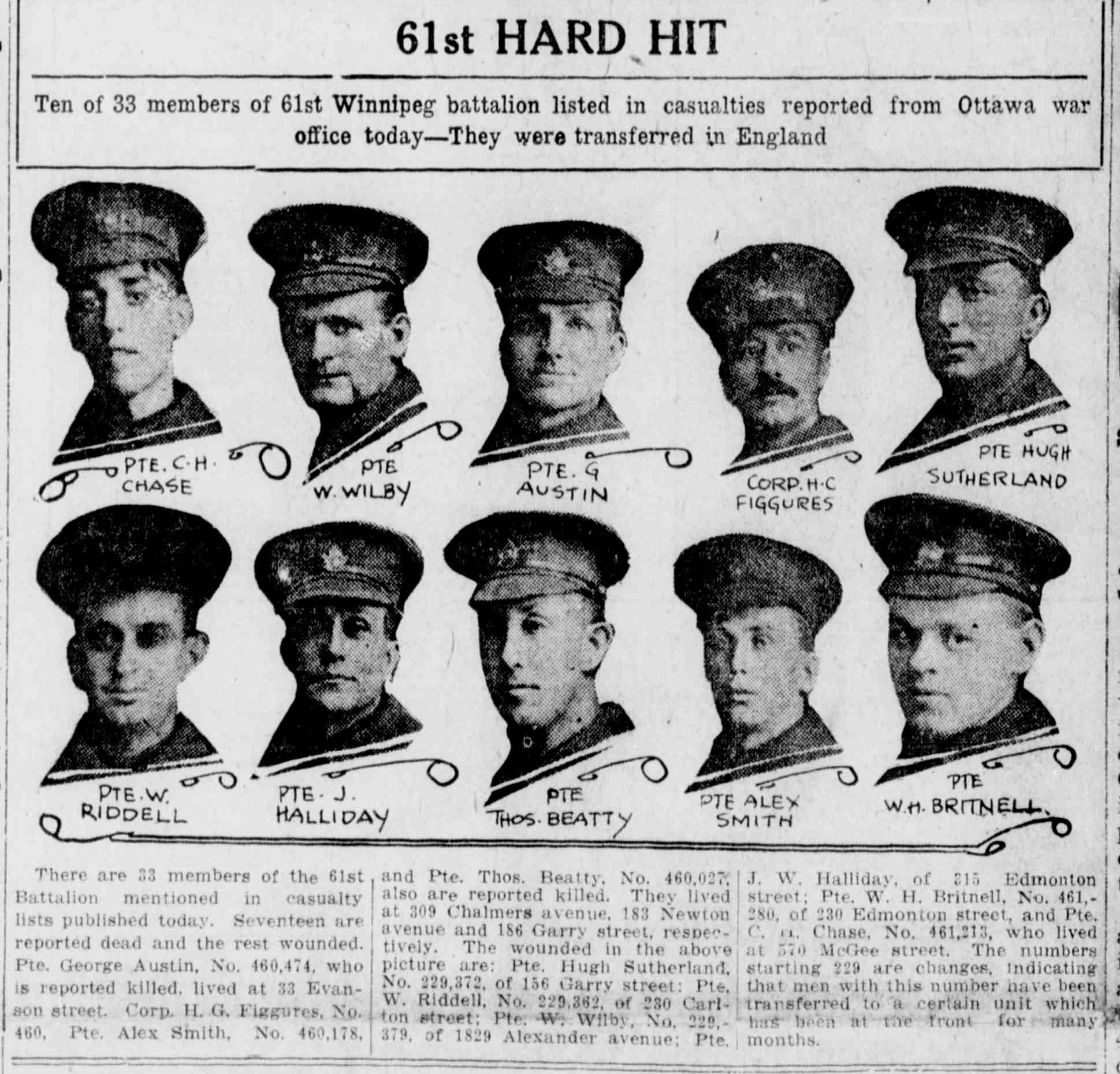 Newspaper Clipping– Image Source: The Winnipeg Evening Tribune, 1916-11-09 (Page 1)