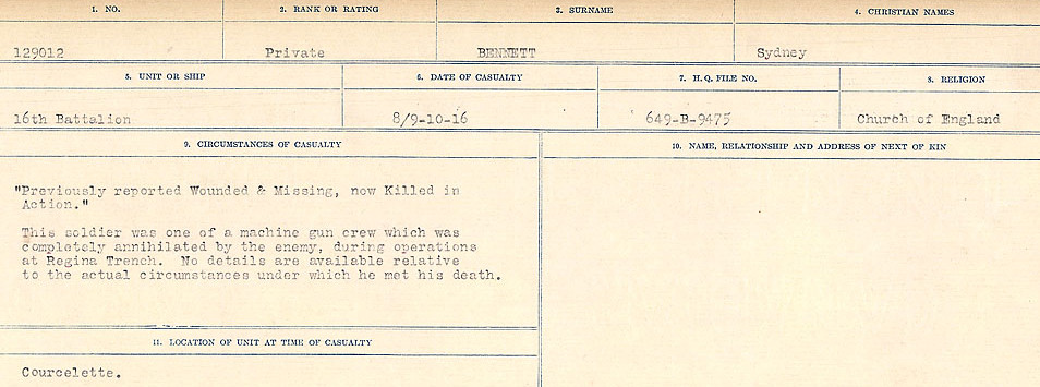 Circumstances of Death– Source: Library and Archives Canada.  CIRCUMSTANCES OF DEATH REGISTERS FIRST WORLD WAR Surnames:  Bell to Bernaquez.  Mircoform Sequence 8; Volume Number 31829_B016718; Reference RG150, 1992-93/314, 152 Page 495 of 670