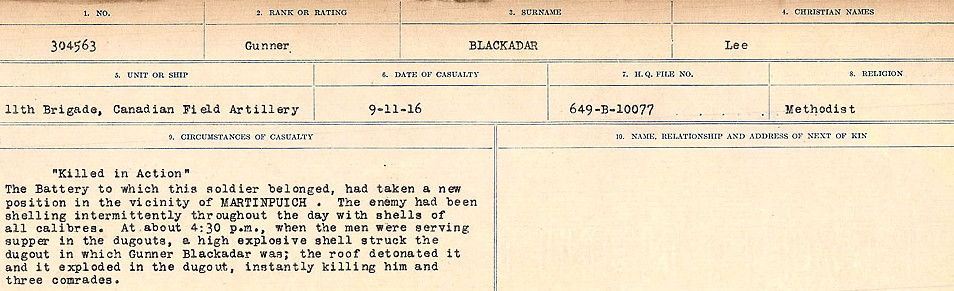 Circumstances of Death Registers– Source: Library and Archives Canada.  CIRCUMSTANCES OF DEATH REGISTERS FIRST WORLD WAR Surnames: Birch to Blakstad. Mircoform Sequence 10; Volume Number 31829_B034746; Reference RG150, 1992-93/314, 154 Page 431 of 734