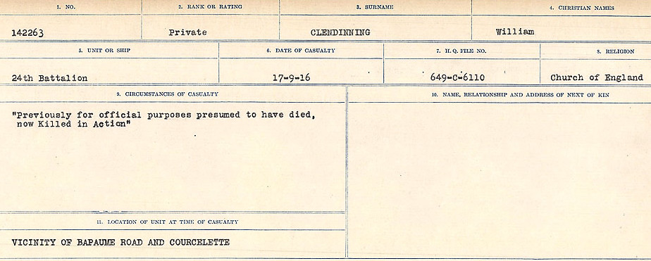 Circumstances of Death Registers– Source: Library and Archives Canada.  CIRCUMSTANCES OF DEATH REGISTERS, FIRST WORLD WAR Surnames:  CLEAL TO CONNOLLY.  Microform Sequence 21; Volume Number 31829_B016730. Reference RG150, 1992-93/314, 165.  Page 129 of 1384.