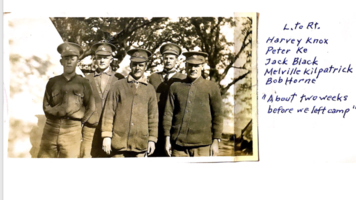 Group Photo– Private Harvey Knox on the far left. Along with fellow soldiers at Niagara Camp in April 1916. Two weeks before boarding the Empress of Britain to go overseas. Harvey was killed in action at the Regina Trench that fall.