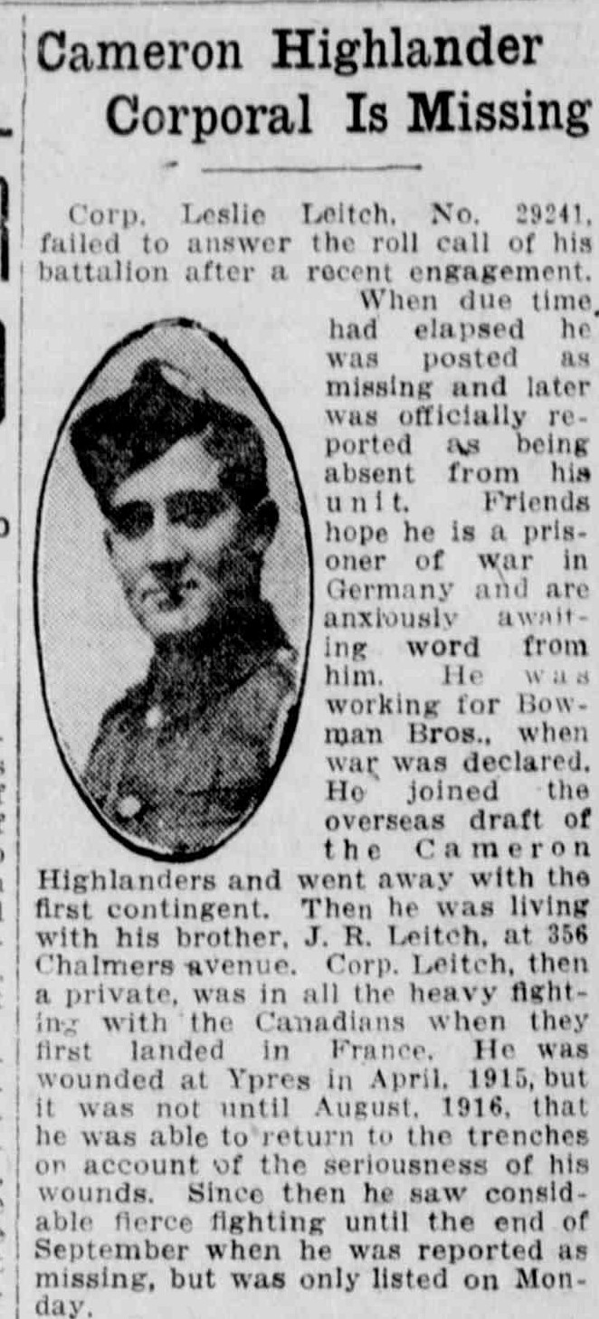 Newspaper Clipping– Image Source: The Winnipeg Evening Tribune, 1916-11-09 (Page 5)