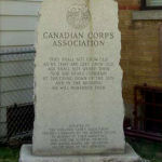 Borden Dairy War Memorial– City Dairy Co. Ltd. War Memorial, Niagara Street, Toronto, Ontario.  The first World War names listed were employed by the City Dairy Co. Ltd.  This dairy was acquired by the Borden Company after the war.  World War Two names for Borden Company employees were added at a later date.  Donated by the Borden Company to the Canadian Corps Association and moved to 201 Niagara Street.