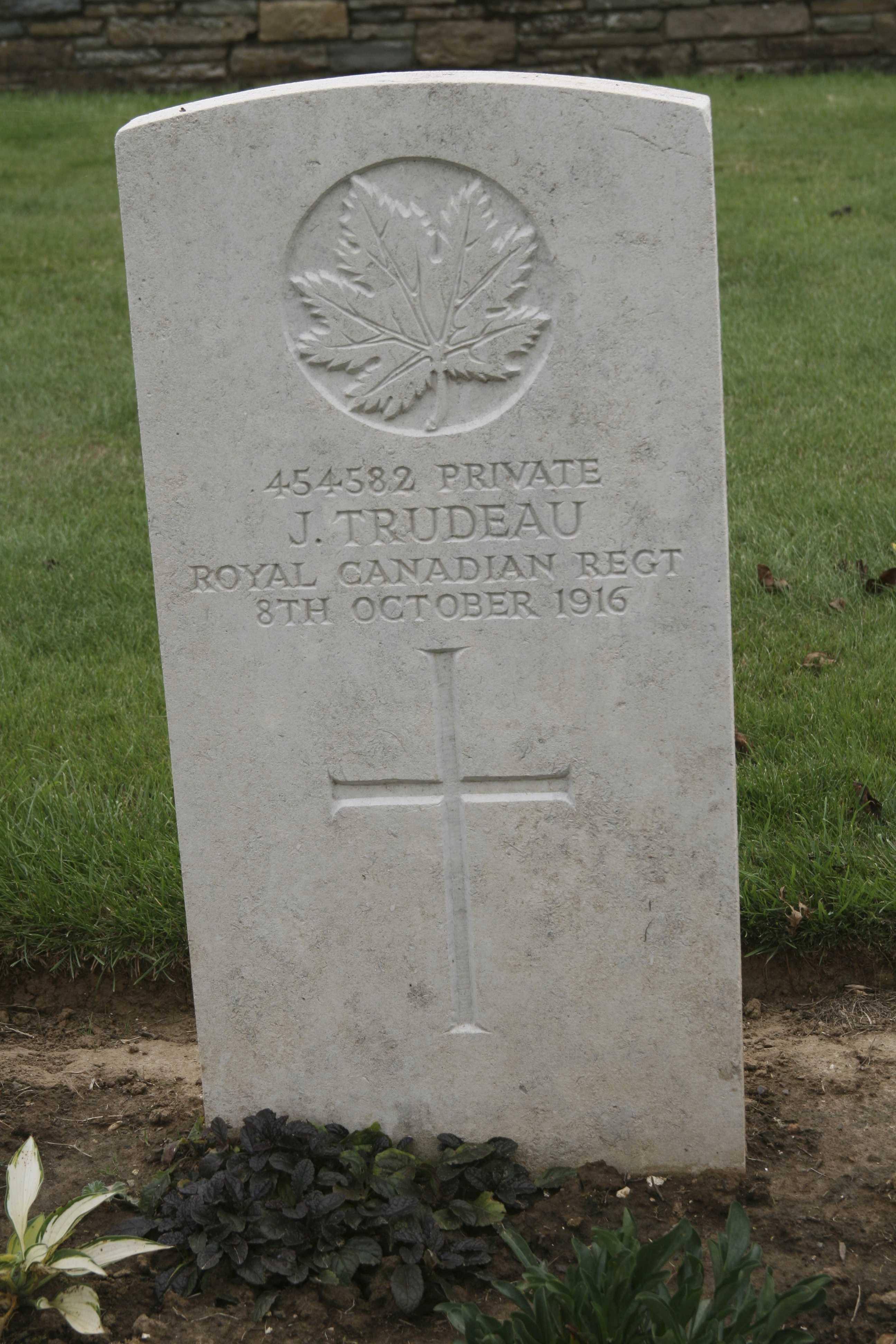 Grave Marker– Picture of Joseph Trudeau's grave at ADANAC Military Cemetery