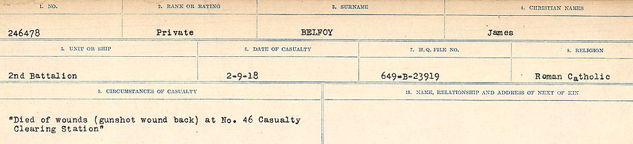 Circumstances of Death Registers– Source: Library and Archives Canada.  CIRCUMSTANCES OF DEATH REGISTERS FIRST WORLD WAR Surnames:  Bea to Belisle. Mircoform Sequence 7; Volume Number 31829_B016717. Reference RG150, 1992-93/314, 151.  Page 703 of 724.