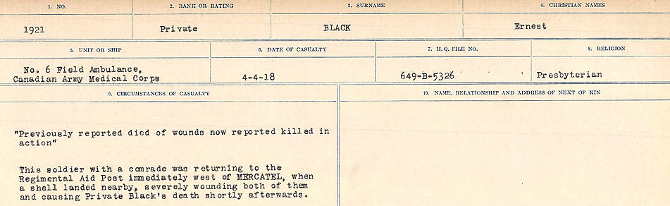 Circumstances of Death Registers– Source: Library and Archives Canada.  CIRCUMSTANCES OF DEATH REGISTERS FIRST WORLD WAR Surnames: Birch to Blakstad. Mircoform Sequence 10; Volume Number 31829_B034746; Reference RG150, 1992-93/314, 154 Page 337 of 734