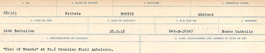 Circumstances of Death Registers– Source: Library and Archives Canada.  CIRCUMSTANCES OF DEATH REGISTERS FIRST WORLD WAR Surnames: Border to Boys. Mircoform Sequence 12; Volume Number 131829_B016721; Reference RG150, 1992-93/314, 156 Page 431 of 934