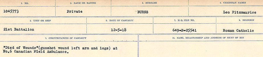 Circumstances of Death Registers– Source: Library and Archives Canada.  CIRCUMSTANCES OF DEATH REGISTERS, FIRST WORLD WAR Surnames:  Burbank to Bytheway. Microform Sequence 16; Volume Number 31829_B016725. Reference RG150, 1992-93/314, 160.  Page 391 of 926.