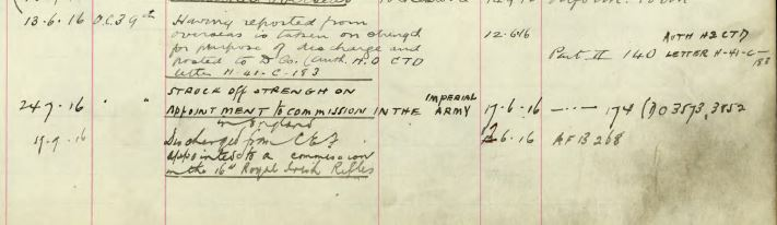 Record of Service– Detail of service record showing entry confirming this soldier was transferred to the Imperial Forces, 16th Battalion of the Irish Rifles.