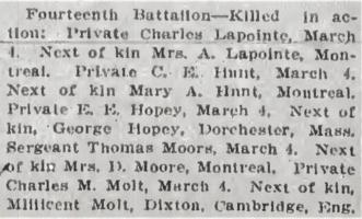Newspaper clipping– From the Daily Colonist of March 23, 1915. Image taken from web address of https://archive.org/stream/dailycolonist57y88uvic#mode/1up