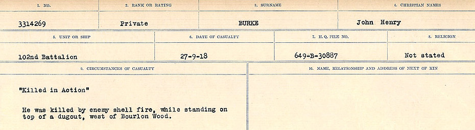 Circumstances of Death Registers– Source: Library and Archives Canada.  CIRCUMSTANCES OF DEATH REGISTERS, FIRST WORLD WAR Surnames:  Burbank to Bytheway. Microform Sequence 16; Volume Number 31829_B016725. Reference RG150, 1992-93/314, 160.  Page 193 of 926.
