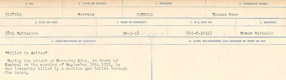 Circumstances of Death Registers– Source: Library and Archives Canada.  CIRCUMSTANCES OF DEATH REGISTERS, FIRST WORLD WAR Surnames:  Canavan to Caswell. Microform Sequence 18; Volume Number 31829_B016727. Reference RG150, 1992-93/314, 162.  Page 533 of 1004.