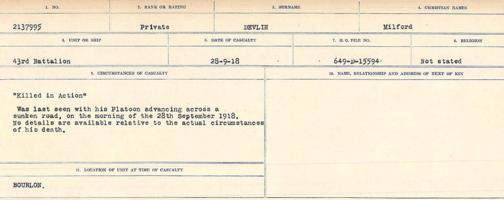 Circumstances of death registers– Source: Library and Archives Canada. CIRCUMSTANCES OF DEATH REGISTERS, FIRST WORLD WAR. Surnames: Deuel to Domoney. Microform Sequence 28; Volume Number 31829_B016737. Reference RG150, 1992-93/314, 172. Page 89 of 1084. He was buried in Delmadge British Cemetery, 2 ¼ miles West of Cambrai. This Cemetery also contained the graves of Lieut. R.B. Delmadge and 22 other Canadian soldiers who fell in September and October, 1918. After the Armistice the bodies of all of these soldiers were exhumed and re-interred in ANNEUX BRITISH CEMETERY.