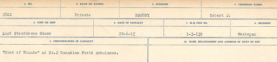 Circumstances of Death Registers– Source: Library and Archives Canada.  CIRCUMSTANCES OF DEATH REGISTERS FIRST WORLD WAR Surnames: Broad to Broyak. Mircoform Sequence 14; Volume Number 31829_B016723; Reference RG150, 1992-93/314, 158 Page 93 of 1128