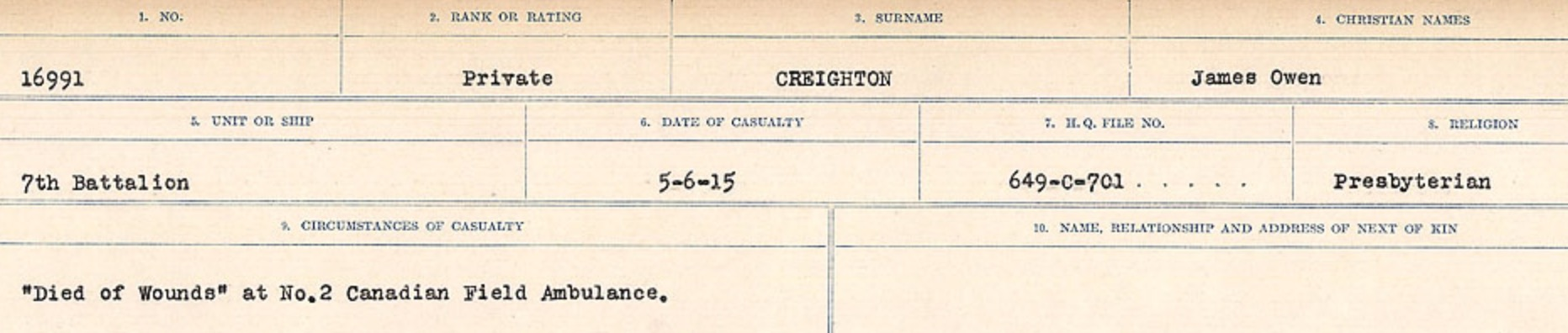 Circumstances of death registers– Source: Library and Archives Canada. CIRCUMSTANCES OF DEATH REGISTERS, FIRST WORLD WAR Surnames: CRABB TO CROSSLAND Microform Sequence 24; Volume Number 31829_B016733. Reference RG150, 1992-93/314, 168. Page 459 of 788.