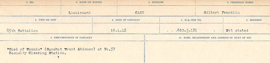 Circumstances of Death Registers– Source: Library and Archives Canada.  CIRCUMSTANCES OF DEATH REGISTERS, FIRST WORLD WAR Surnames:  Canavan to Caswell. Microform Sequence 18; Volume Number 31829_B016727. Reference RG150, 1992-93/314, 162.  Page 25 of 1004.