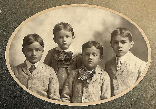 Group Photo– Robert Harvey Pearson, age 11, left, with brothers Frederick Beverly, age 3, centre left, Marshall Alfred, age 7, centre right and William James, age 13, right. Taken in 1900 with all the hope and optimism of a new century.