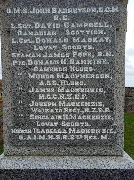 Memorial– listed on the Melness Memorial Sutherland, Scotland