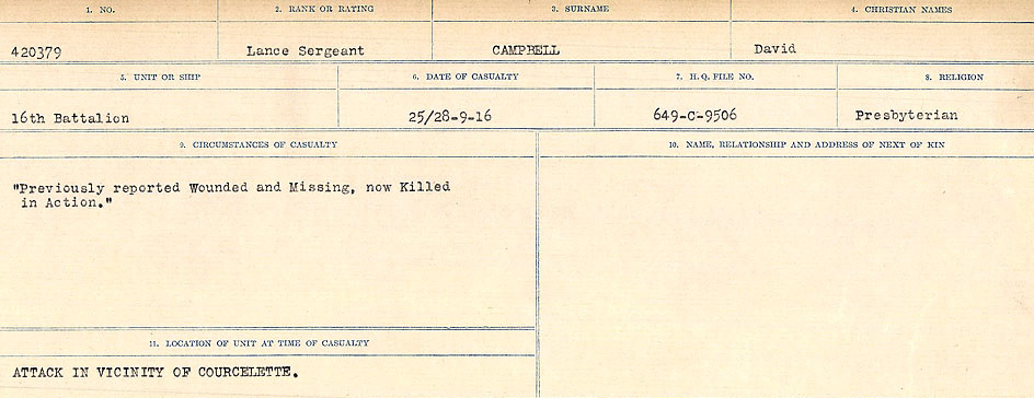 Circumstances of Death Registers– Source: Library and Archives Canada.  CIRCUMSTANCES OF DEATH REGISTERS, FIRST WORLD WAR Surnames:  Cabana to Campling. Microform Sequence 17; Volume Number 31829_B016726. Reference RG150, 1992-93/314, 161.  Page 613 of 1024