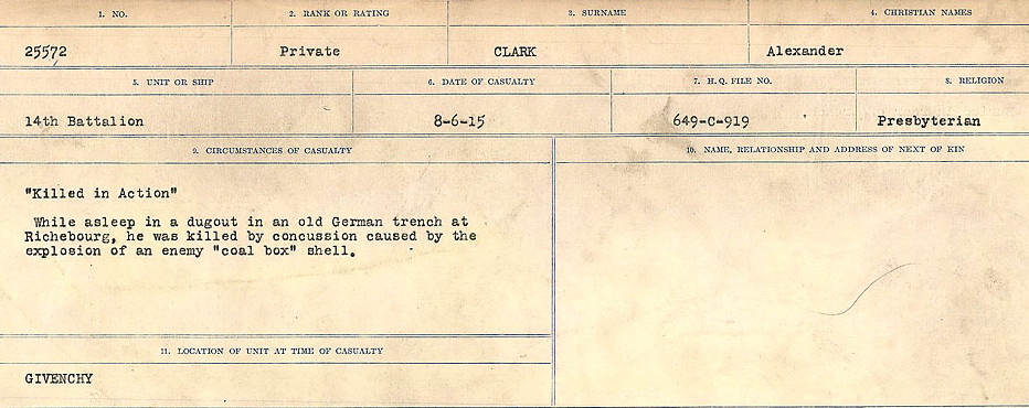 Circumstances of Death Registers– Source: Library and Archives Canada.  CIRCUMSTANCES OF DEATH REGISTERS, FIRST WORLD WAR Surnames:  CHILD TO CLAYTON.  Microform Sequence 20; Volume Number 31829_B016729. Reference RG150, 1992-93/314, 164.  Page of 451 of 1068.