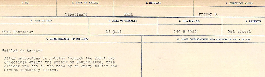 Circumstances of Death– Source: Library and Archives Canada.  CIRCUMSTANCES OF DEATH REGISTERS FIRST WORLD WAR Surnames:  Bell to Bernaquez.  Mircoform Sequence 8; Volume Number 31829_B016718; Reference RG150, 1992-93/314, 152 Page 201 of 670.