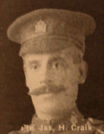 Photo of James Craik– In memory of the men and women from the Waterloo area who went to war and did not come home. From the booklet, Peace Souvenir – Activities of Waterloo County in the Great War 1914 – 1918. From the Toronto Public Library collection.  Submitted for the project, Operation: Picture Me.