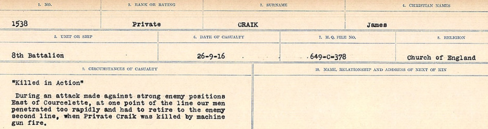 Circumstances of death registers– Source: Library and Archives Canada. CIRCUMSTANCES OF DEATH REGISTERS, FIRST WORLD WAR Surnames: CRABB TO CROSSLAND Microform Sequence 24; Volume Number 31829_B016733. Reference RG150, 1992-93/314, 168. Page 161 of 788.