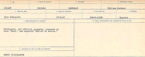 Circumstances of death registers– Source: Library and Archives Canada. CIRCUMSTANCES OF DEATH REGISTERS, FIRST WORLD WAR. Surnames: Don to Drzewiecki. Microform Sequence 29; Volume Number 31829_B016738. Reference RG150, 1992-93/314, 173. Page 169 of 1076. He was buried North of Courcelette, 5 ½ miles North East of Albert.  Subsequently, his body was exhumed and buried in COURCELETTE BRITISH CEMETERY.