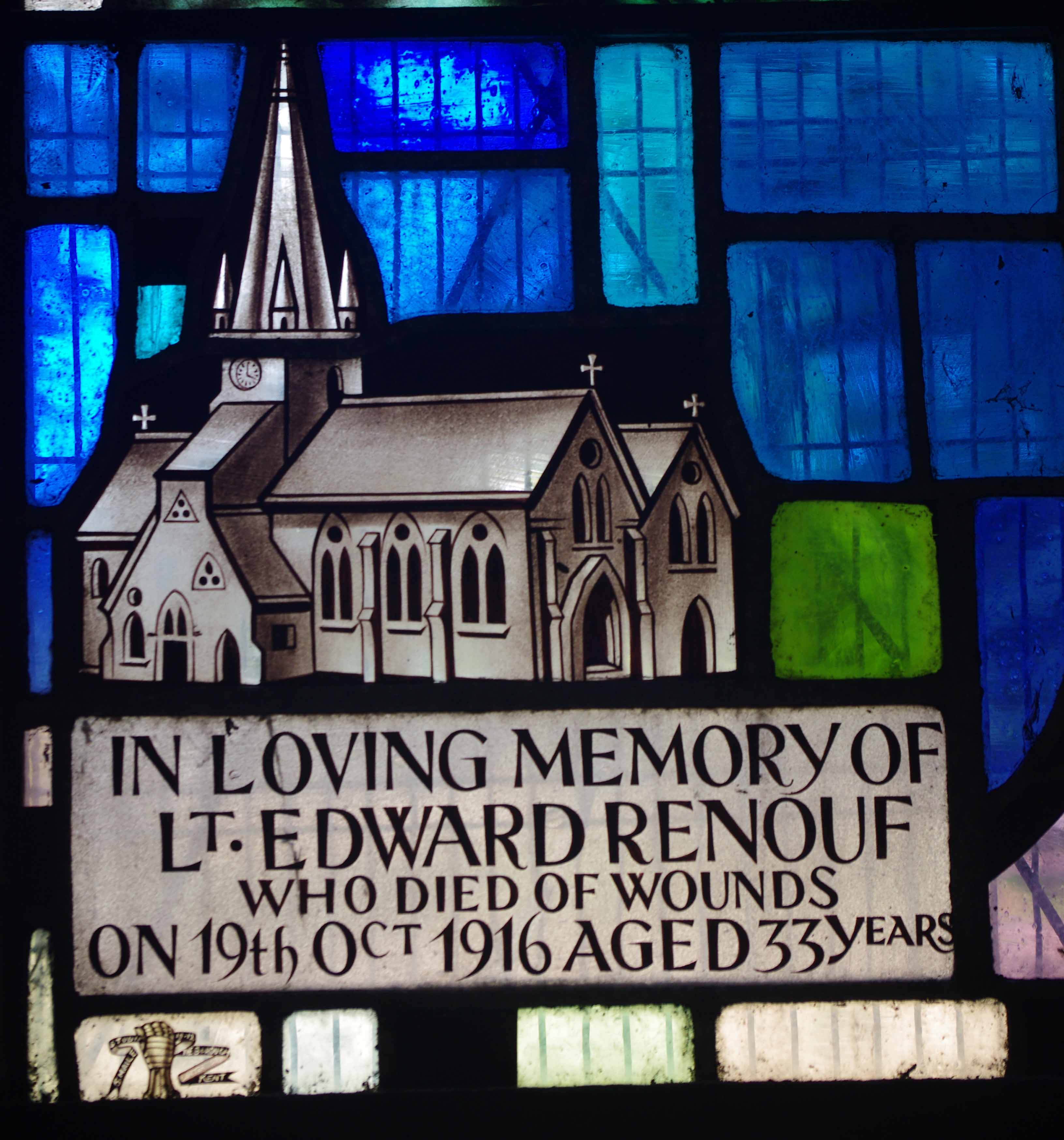 Memorial– Stained glass window St Mary's Church, Jersey
