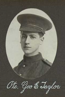 Photo of GEORGE EDWARD TAYLOR– In memory of the employees of the T. Eaton Company that went to war and did not come home.  Submitted for the project, Operation: Picture Me
