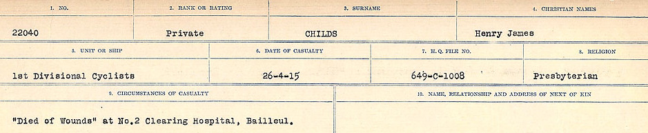 Circumstances of Death Registers– Source: Library and Archives Canada.  CIRCUMSTANCES OF DEATH REGISTERS, FIRST WORLD WAR Surnames:  CHILD TO CLAYTON.  Microform Sequence 20; Volume Number 31829_B016729. Reference RG150, 1992-93/314, 164.  Page 11 of 1068.