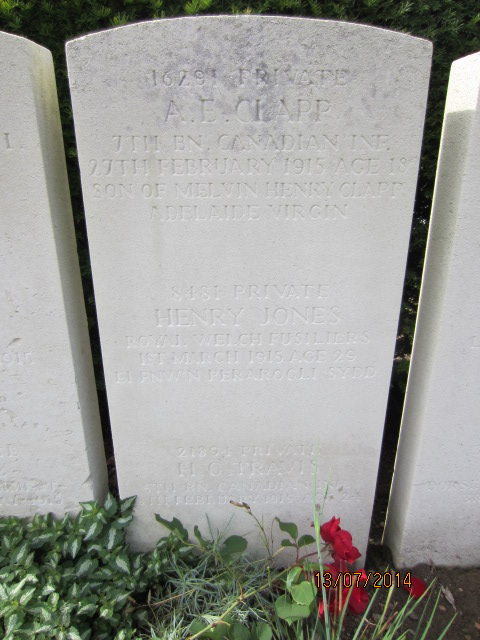 Grave marker– Grave marker at Bailleul Communal Cemetery showing inscription for Private Albert Ernest Clapp (at top).