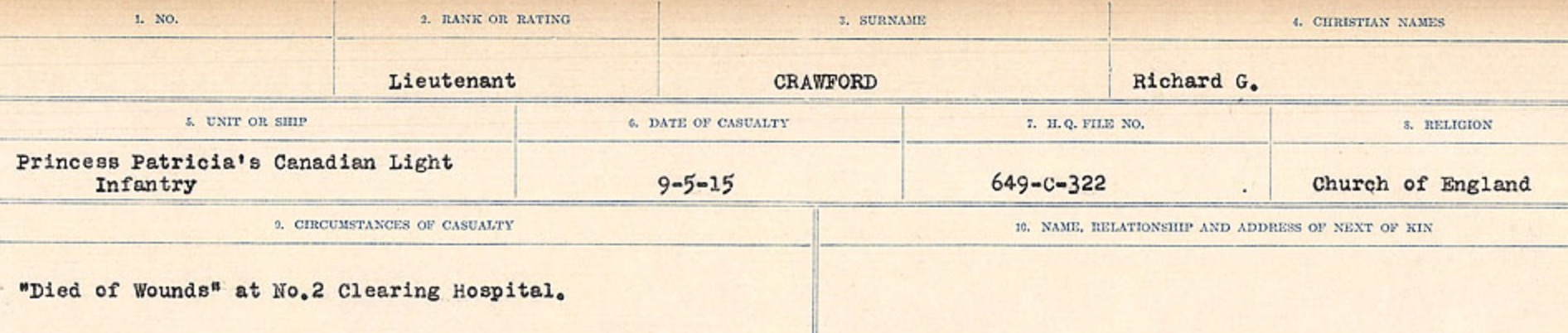 Circumstances of death registers– Source: Library and Archives Canada. CIRCUMSTANCES OF DEATH REGISTERS, FIRST WORLD WAR Surnames: CRABB TO CROSSLAND Microform Sequence 24; Volume Number 31829_B016733. Reference RG150, 1992-93/314, 168. Page 377 of 788.