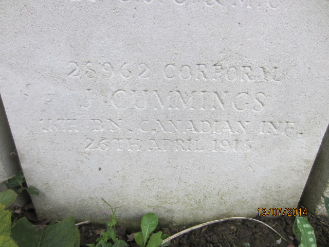 Inscription– Detail of inscription on grave marker for Corporal James Cummings at Bailleul Communal Cemetery, France.