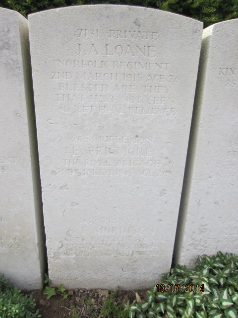 Grave marker– Grave marker at Bailleul Communal Cemetery showing inscription for Private George Edward Morrison (at bottom). Image taken 13 July 2014 by Tom Tulloch.