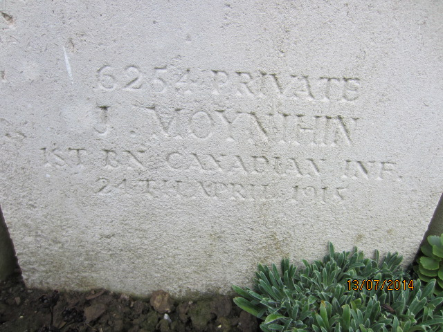 Inscription– Detail of grave marker inscription for Private James Moynihin at Bailleul Communal Cemetery, France. Image taken 13 July 2014 by Tom Tulloch.