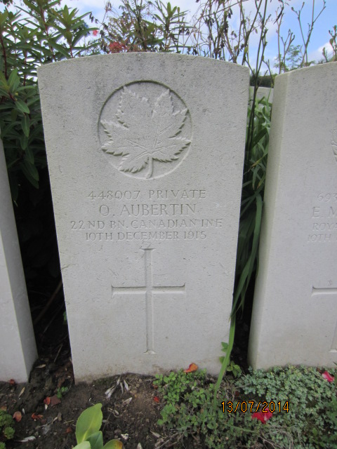 Grave Marker– Grave marker at Bailleul Communal Cemetery, France for Private Ovila Aubertin. Image taken 13 July 2014 by Tom Tulloch