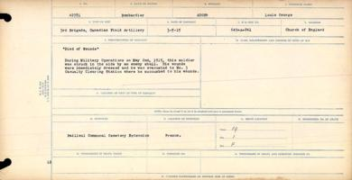 Circumstances of death registers– Bombardier Louis George Auger