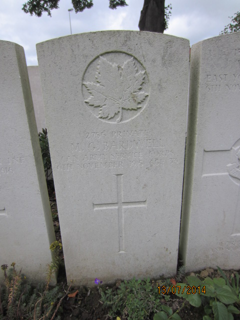 Grave Marker– Grave marker for Marcus George Bardwell in Bailleul Communal Cemetery, Nord, France. Image taken 13 July 2014 by Tom Tulloch.