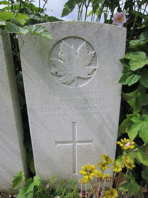 Grave Marker– Grave marker for Aime Jean Barrau in Bailleul Communal Cemetery, Nord, France. Image taked 13 July 2014 by Tom Tulloch.