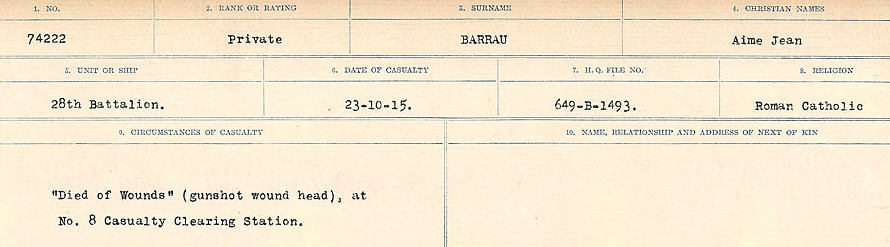Circumstances of Death– Source: Library and Archives Canada.  CIRCUMSTANCES OF DEATH REGISTERS, FIRST WORLD WAR Surnames:  Bark to Bazinet. Mircoform Sequence 6; Volume Number 31829_B016716. Reference RG150, 1992-93/314, 150.  Page 401 of 1058.