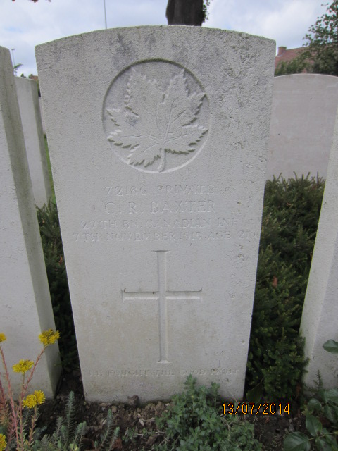 Grave Marker– Grave marker for Charles Robert Baxter in Bailleul Communal Cemetery, Nord, France. Image taken 13 July 2014 by Tom Tulloch.
