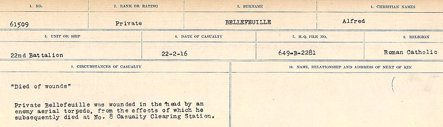 Circumstances of Death– Source: Library and Archives Canada.  CIRCUMSTANCES OF DEATH REGISTERS FIRST WORLD WAR Surnames:  Bell to Bernaquez.  Mircoform Sequence 8; Volume Number 31829_B016718; Reference RG150, 1992-93/314, 152 Page 265 of 670.