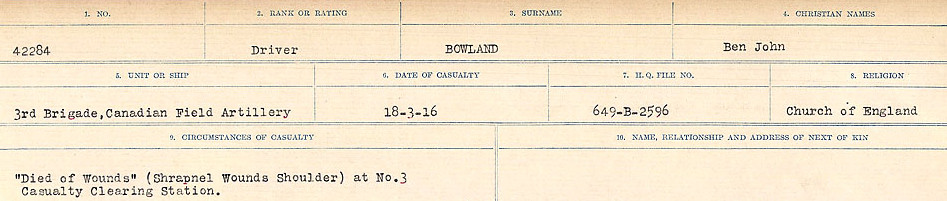 Circumstances of Death Registers– Source: Library and Archives Canada.  CIRCUMSTANCES OF DEATH REGISTERS FIRST WORLD WAR Surnames: Border to Boys. Mircoform Sequence 12; Volume Number 131829_B016721; Reference RG150, 1992-93/314, 156 Page 627 of 934